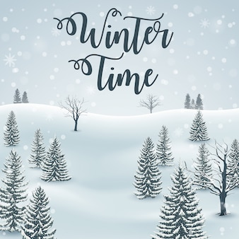 Happy Winter with Forest Landscape Background