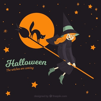 Happy witch flying with her broom