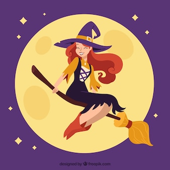 Happy witch with modern style