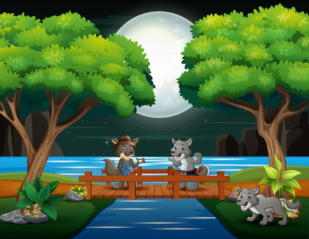 Happy wolf cartoons playing in the night scene