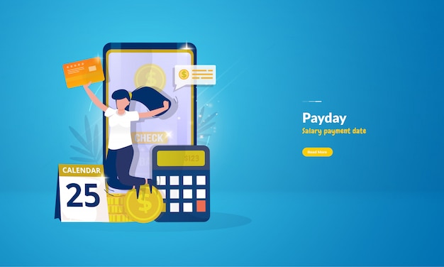 Happy woman after receiving salary payment for payday illustration concept