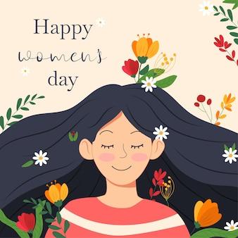 행복한 여성의 날을위한 행복한 여자와 화려한 꽃