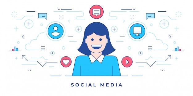 소셜 미디어 마케팅을 제공하는 현대 웹 사이트를 위해 만든 행복한 여자와 아이콘