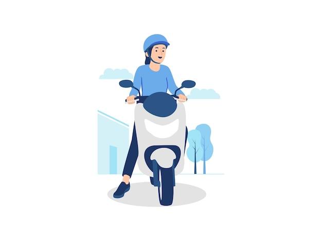 街のストリート コンセプト イラストでバイク オートバイに乗ってヘルメットをかぶった幸せな女バイカー