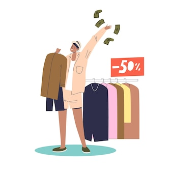 Happy woman buying new clothes with 50 percent sale