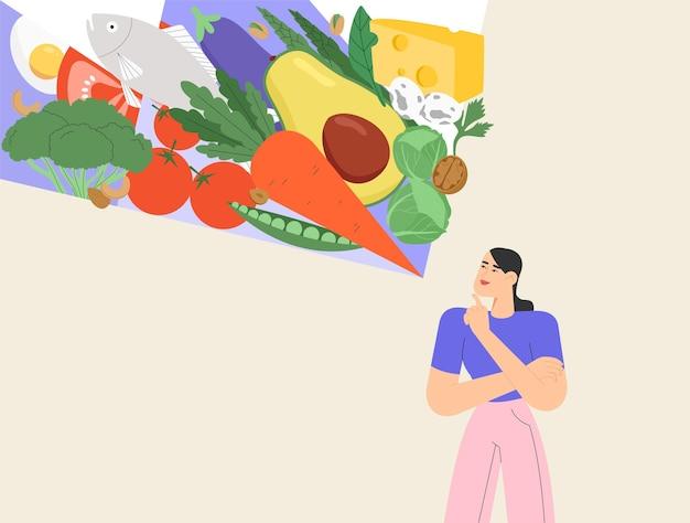 행복한 여자 캐릭터는 다이어트를 계획하고 유기농 제품을 선택합니다. 프리미엄 벡터