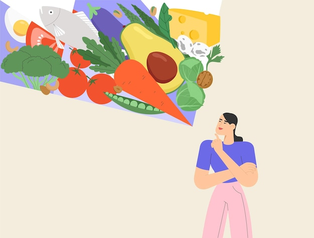 Happy woman character plans her diet and chooses organic products