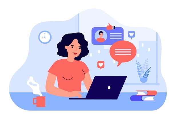 Счастливая женщина в чате или на свиданиях с парнем онлайн плоской иллюстрации. мультфильм молодая леди ищет романтического партнера в интернете. отношения и концепция компьютерного обслуживания