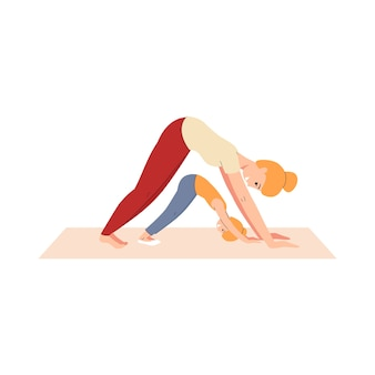 Happy woman and child in stretching yoga position - healthy cartoon blonde mother and daughter exercising together and smiling. family fitness -    illustration.