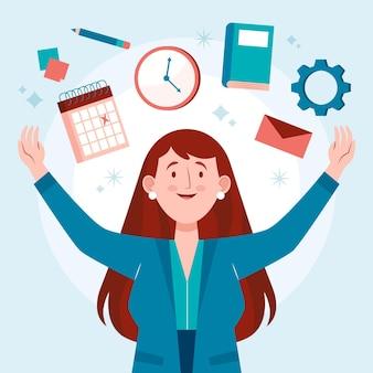 Donna felice che fa attività multitask