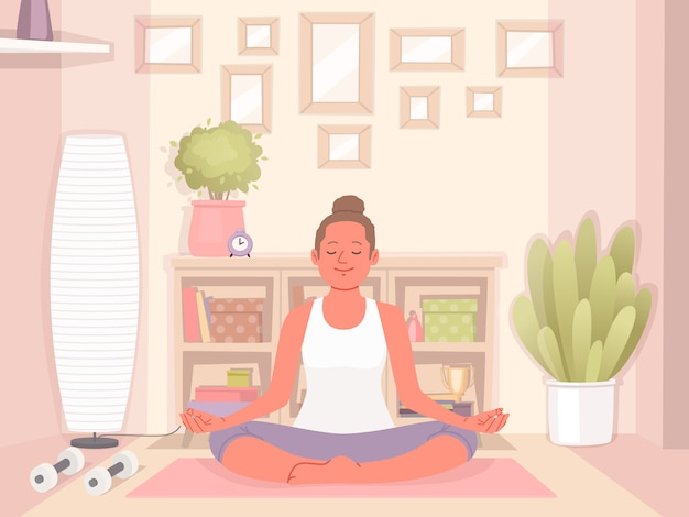 Happy woman doing yoga at home. relaxation and concentration. healthy and active lifestyle. vector illustration in a flat style