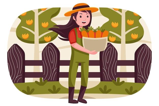 幸せな女性の農夫は、バスケットにニンジンを持ってきます。