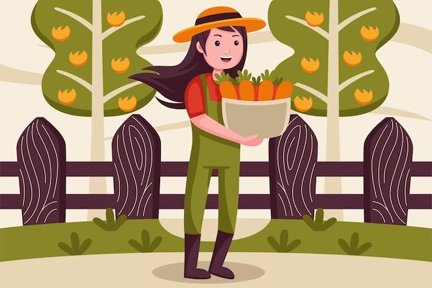 幸せな女性農家は、バスケットにニンジンを持ってきます。