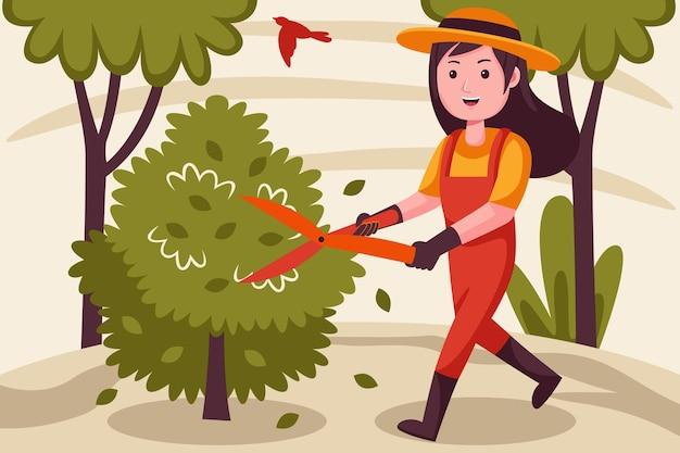 행복 한 여자 농부 절단 식물 정원에서.