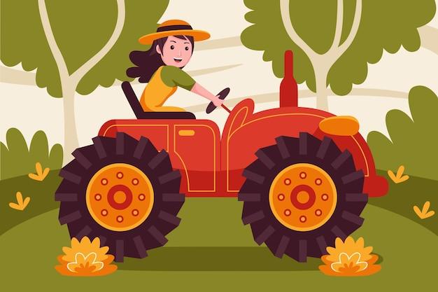 庭でトラクターを運転する幸せな女性農家。