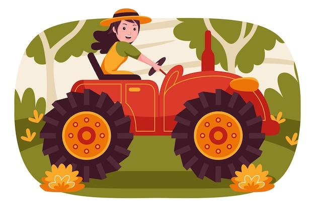 Счастливая женщина-фермер за рулем трактора в саду.