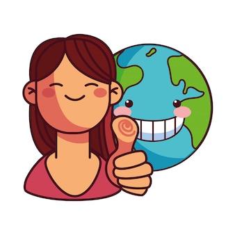 地球保全のための幸せな女