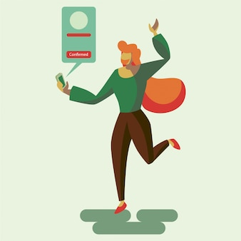 A happy woman to get a confirmation notification flat illustration