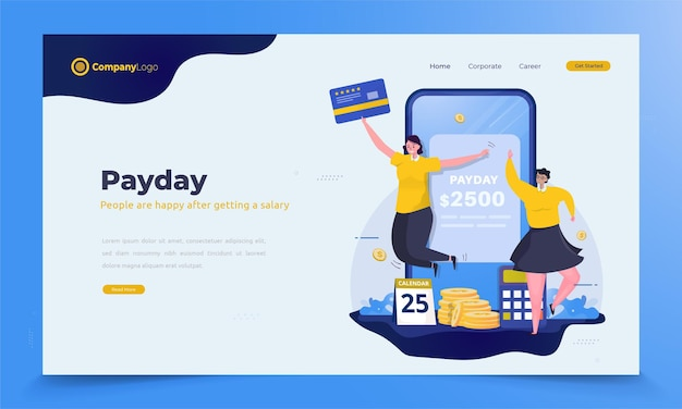 Happy woman get salary money for payday illustration concept