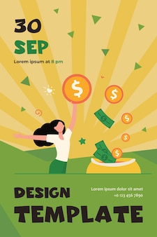 Happy woman getting cash. person saving money, getting profit or high income flat flyer template
