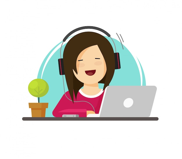 Happy woman or girl working on laptop computer vector illustration flat carton