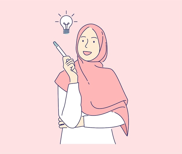 Happy woman have ideas vector illustration concept, muslim girl holding pencil with light bulb hand drawn isolated.