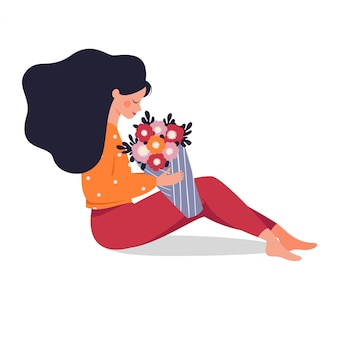꽃다발을 들고 행복 한 여자
