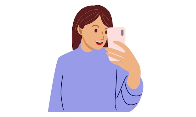 Happy woman holding cellphone