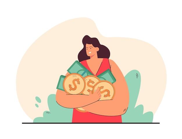 手にコインや紙幣を持って幸せな女性。ピンクの背景のフラットイラストの漫画の女性