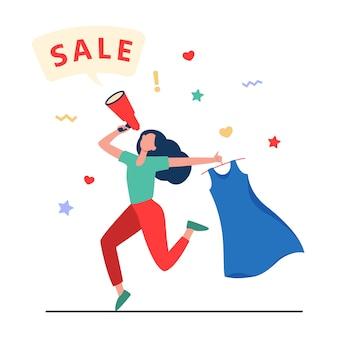 Счастливая женщина, держащая платье для продажи. одежда, громкоговоритель, девушка плоская векторная иллюстрация. покупки и продвижение