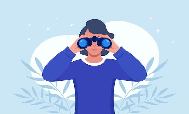 거 대 한 쌍안경을 들고 멀리 앞을 보고 행복 한 여자. 소녀는 누군가를 면밀히 관찰하고 있습니다. 관찰, 발견, 미래 개념