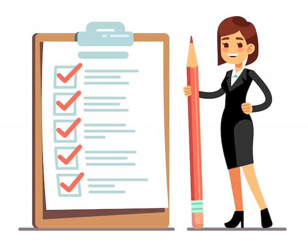 눈금 표시와 함께 거 대 한 일정 검사 목록에서 연필 들고 행복 한 여자. 사업 조직 및 목표 벡터 개념의 성과