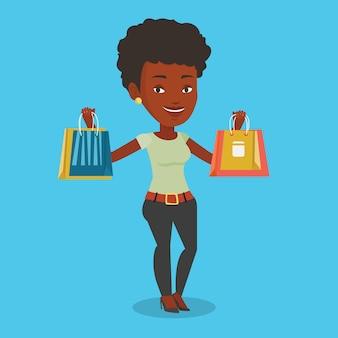 幸せな女持株ショッピングバッグ。 Premiumベクター