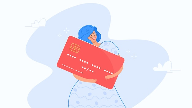 Happy woman hugging big red credit card vector illustration of people use credit and debit bank card