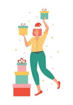 ギフトボックスの山を運ぶサンタ帽子の幸せな女性。白で隔離のプレゼントを保持している女性キャラクター。新年とクリスマスのイラスト。うれしそうな買い物中毒者。季節割引ショッピング