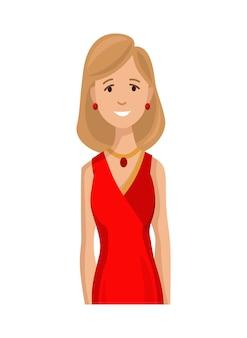 Счастливая женщина в изысканной одежде
