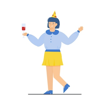 Счастливая женщина в праздничной шляпе и с напитком эскиз векторные иллюстрации изолированы
