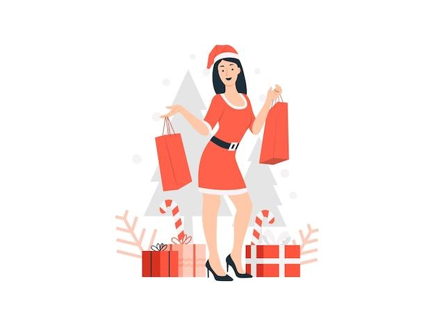 クリスマスセールのコンセプトイラストで買い物袋を保持しているサンタ帽子の幸せな女性
