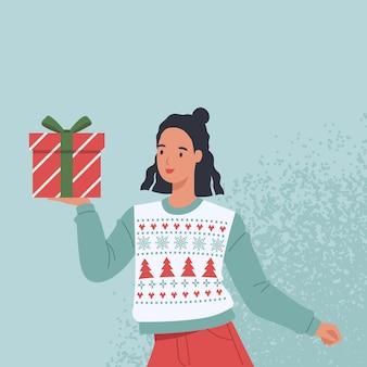 クリスマスプレゼントとセーターで幸せな女性。フラットスタイルのイラスト