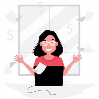 행복한 여자는 컴퓨터에서 작업하고 노트북 앞에 앉아 그녀의 비즈니스 기능 아가씨에 대한 아이디어를 얻을
