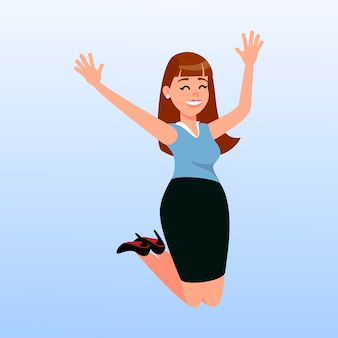 Happy woman jumping cartoon vector illustration