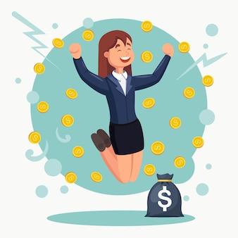 喜びのためにジャンプする幸せな女性。実業家はお金の雨の下で成功を祝います。女の子に現金が落ちる