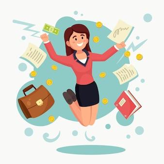喜びのためにジャンプする幸せな女性。実業家は成功した取引を祝います。企業労働者の笑顔。お金と貿易