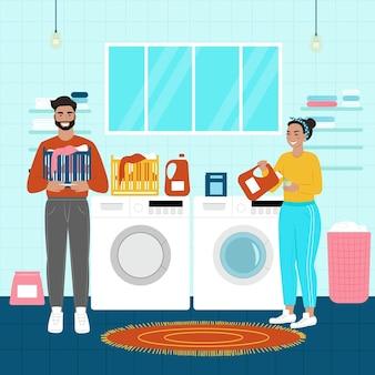 幸せな女性の洗濯物。男性は女性が洗うのを手伝います。フラット漫画スタイルのベクトルイラスト。