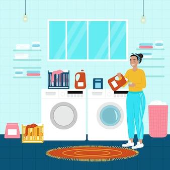 Happy woman laundry. vector illustration in flat cartoon style.