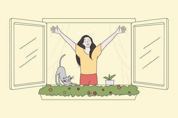 Happy woman look out of window breathing fresh air