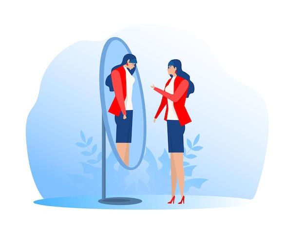 Счастливая женщина, глядя на свое грустное плачущее отражение в зеркале плоские векторные иллюстрации