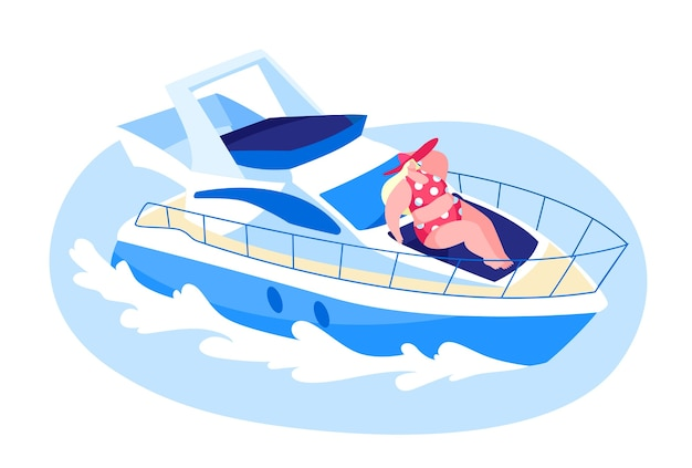 Happy woman lying on ship deck and take sun bathing