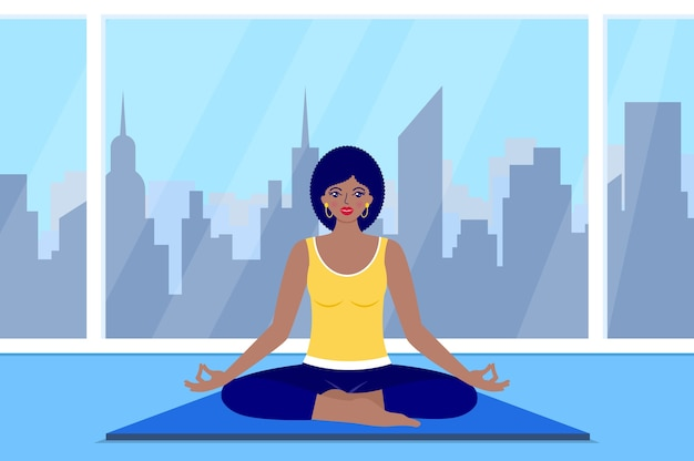 Happy woman meditates sitting at home. yoga concept.