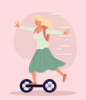 Счастливая женщина на мультфильм гироскутер